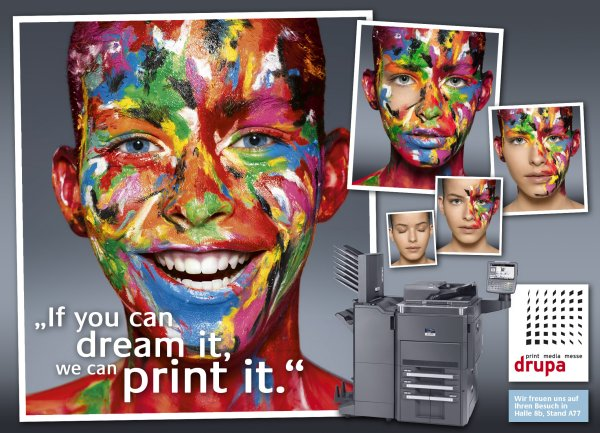 »If you can dream it, we can print it«: Messemotto von Kyocera auf der Drupa 2012